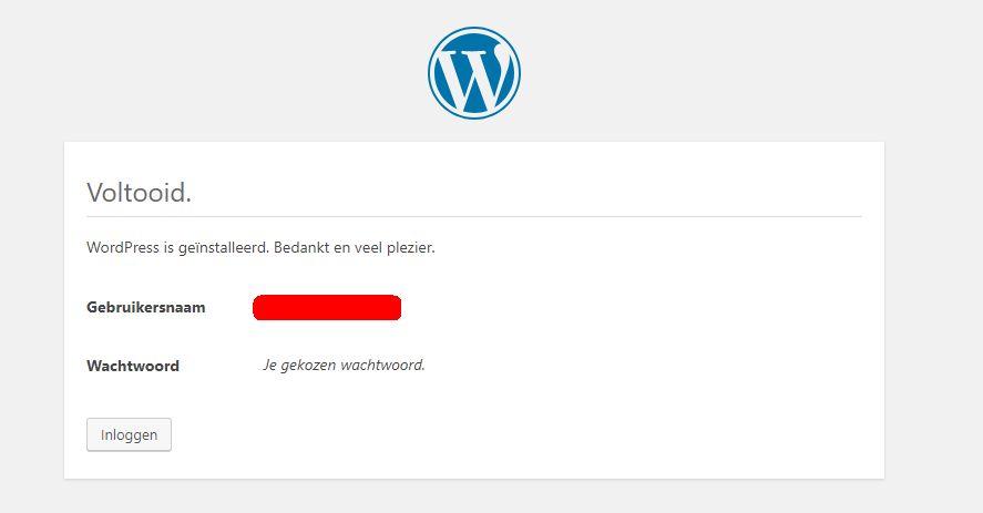 Succesvol WordPress geïnstalleerd