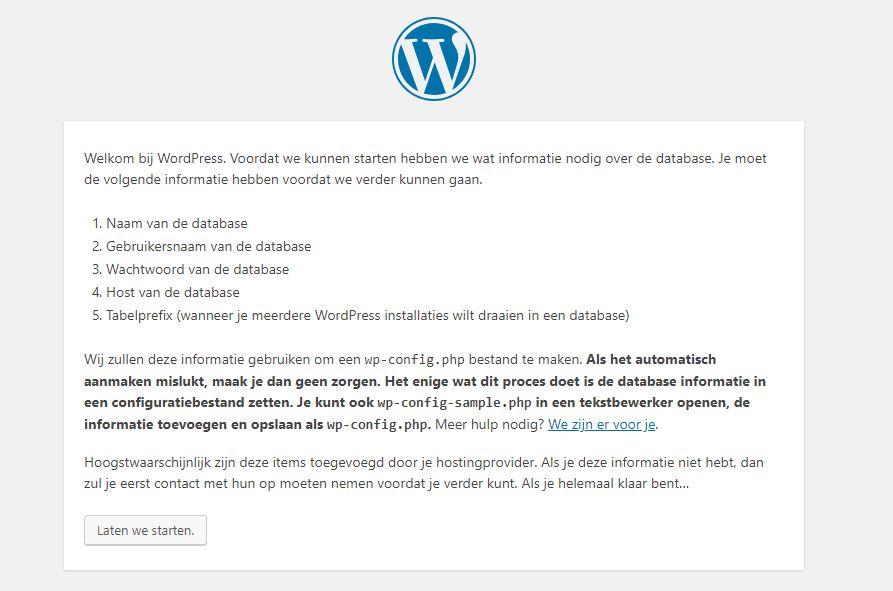 WordPress installatiescherm